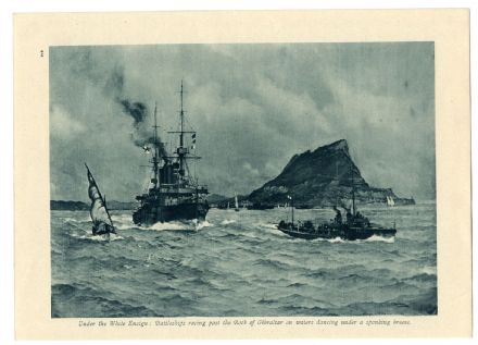 1916 WW1 Print GIBRALTAR Battleship NAVY Devonshire Class Cruiser DESTROYER